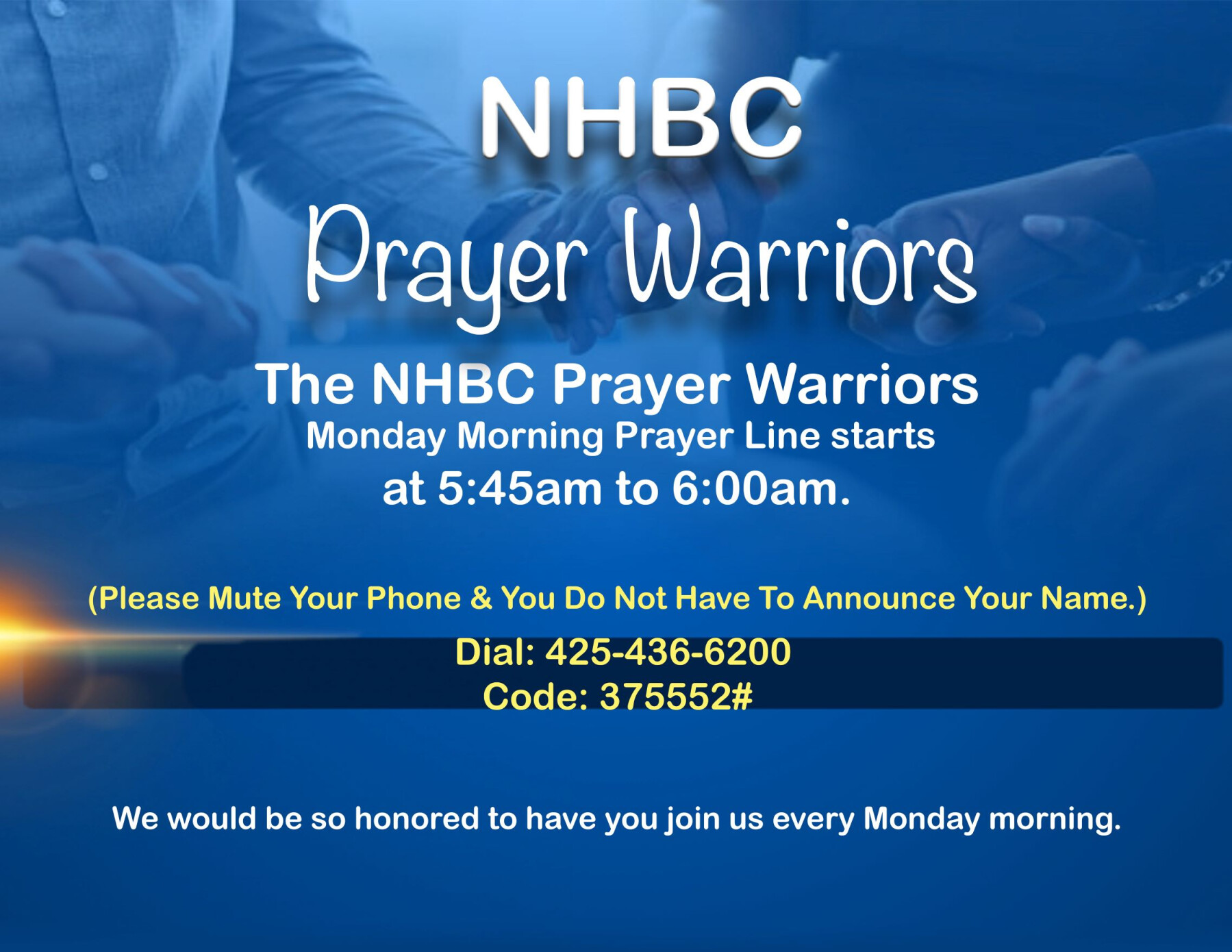 "Prayer Warriors ""Monday Morning Prayer Call"""