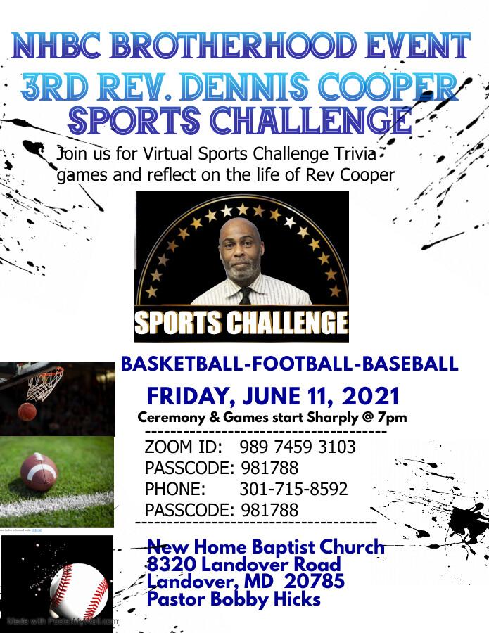 3rd Rev. Dennis Cooper Sports Challenge Zoom